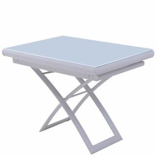 Table relevable extensible MIRAGE compacte verre laqué blanc 106*71 cm