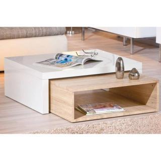 Table basse design ZOLA blanche et chêne