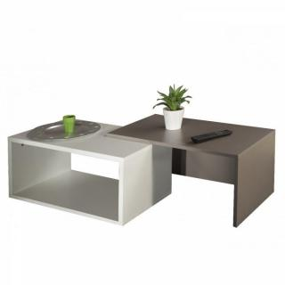 DUET Double table basse blanc et taupe