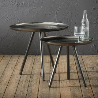 Lot de 2 Tables basses NALDO plateau acier noir