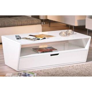 Table basse NEOMI blanche avec un tiroir et une niche