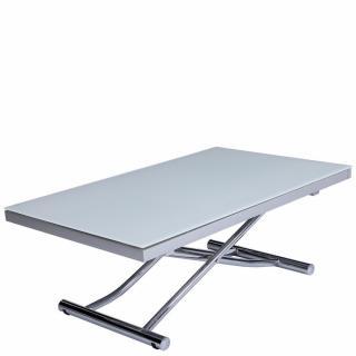 Table basse relevable et extensible NEWJUMP verre blanc pied chromé 120/196 x 74 cm