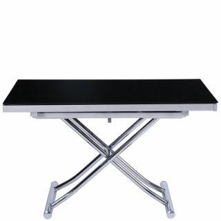 Table basse relevable et extensible NEWJUMP verre noir pied chromé 120/196 x 74 cm