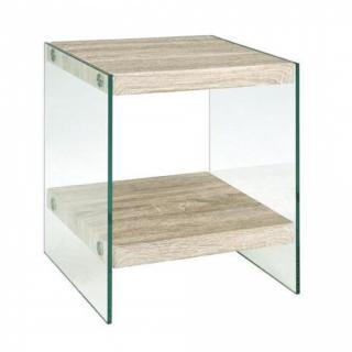 Table basse NINA en verre et chêne clair