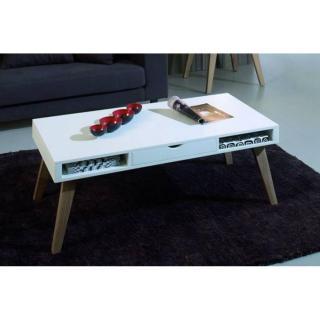 Table basse NORY blanche dotée 1 tiroir et 2 niches avec piétement en frêne
