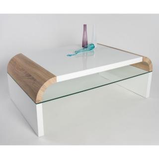 Table basse design OMAHA blanche et chêne