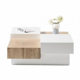 Table basse PIXBO laquée blanc mat et décor chêne 2 tiroirs