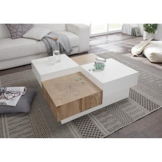 Table basse PIXBO blanc laque brillant et décor chêne 2 tiroirs