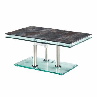 Table basse MATCH CERAMIQUE ANTHRACITE 2 plateaux pivotants en verre piétement chrome