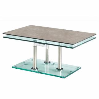 Table basse MATCH CERAMIQUE GREY 2 plateaux pivotants en verre piétement chrome