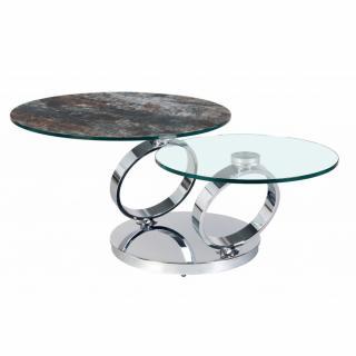 Table OLYMPE  à plateaux pivotants en verre et céramique ANTHRACITE