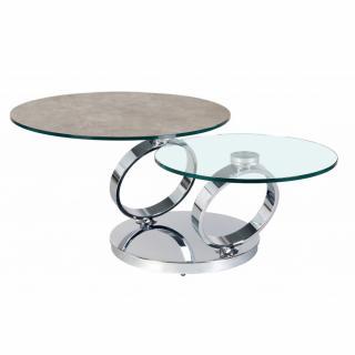 Table OLYMPE  à plateaux pivotants en verre et céramique GRIS