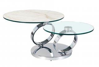 Table OLYMPE MARBLE à plateaux pivotants en verre et céramique marbre blanc