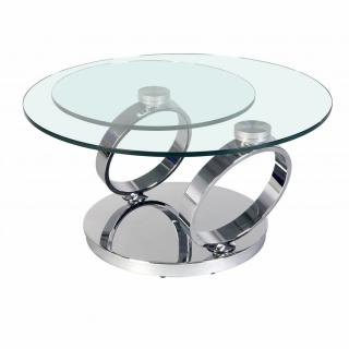 Table OLYMPE à plateaux pivotants en verre et piètement CHROME
