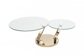 Table OLYMPE à plateaux pivotants en verre et piètement acier Chromé finition Dorée