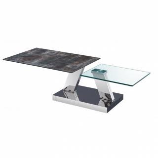 Table OPEN  à doubles plateaux pivotants en verre trempé et céramique ANTHRACITE
