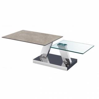 Table OPEN  à doubles plateaux pivotants en verre trempé et céramique GRIS