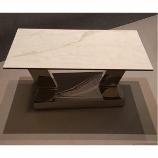 Table OPEN  à doubles plateaux pivotants en verre trempé et céramique marbre blanc