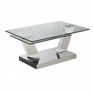 Table OPEN  à plateaux pivotants en verre trempé et piétement CHROME
