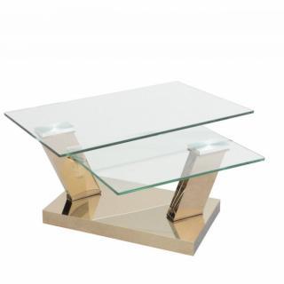 Table OPEN COOPER à plateaux pivotants en verre trempé et piétement couleur CUIVRE