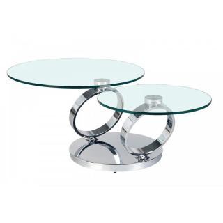 Table RING à plateaux pivotants en verre et acier chromé