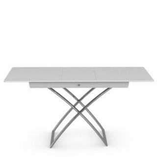 Table basse relevable extensible italienne MAGIC J Glass en verre extra-blanc