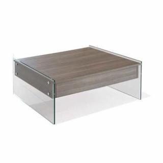 Table basse relevable BELLA 130x80cm coloris noyer piétement en verre