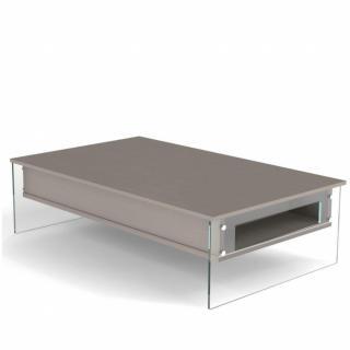 Table basse relevable taupe BELLA 130x80cm piétement en verre