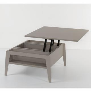 Table basse relevable gris taupe BRIGHTON 80x80cm