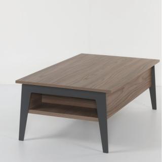Table basse relevable en  noyer BRIGHTON 2 avec piétement noir 110x70cm