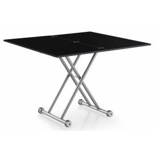 Table basse relevable extensible UPDOWN noire mate carbone Petite taille compacte.