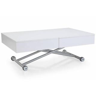Table basse relevable ALBATROS blanche extensible 8 Couverts