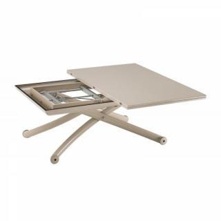 Table basse CLASS relevable extensible, plateau laqué taupe