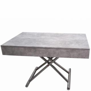 Table basse relevable CUBE coloris béton extensible 10 Couverts piètement chromé