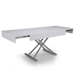 Table basse relevable CUBE blanche brillante, extensible 12 Couverts.