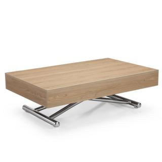 Table basse relevable CUBE chêne clair extensible 12 Couverts