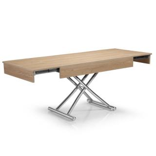Table basse relevable CUBE chêne clair extensible 10 Couverts