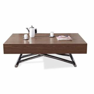 Table basse relevable CUBE noyer, extensible 12 Couverts.