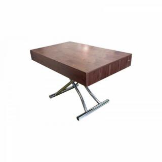 Table basse relevable CUBE noyer extensible 10 Couverts