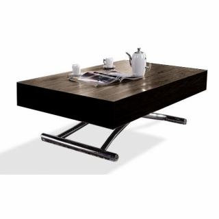 Table basse relevable CUBE wengé, extensible 12 Couverts.