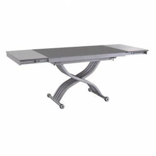 Table basse FORM relevable extensible, plateau en verre gris.