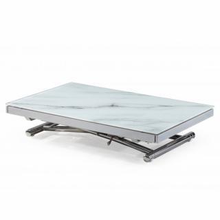 Table basse JUMP extensible relevable en verre trempé marbré blanc