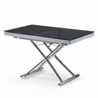 Table basse JUMP extensible relevable en verre trempé marbré noir