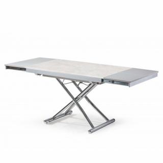 Table basse extensible relevable JUMP plateau en céramique collé sur verre aspect béton gris clair
