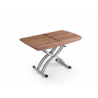 Table relevable LIFT noyer extensible en table repas 8 couverts
