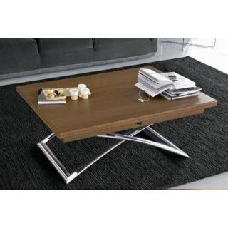 Table basse relevable extensible italienne MAGIC J  en bois vernis et piétement en acier chromé