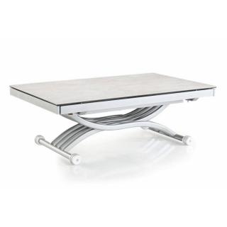 Table basse NEWFORM relevable extensible, plateau en verre ceramic