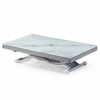Table basse NEWFORM relevable extensible, plateau en verre trempé, marbré blanc