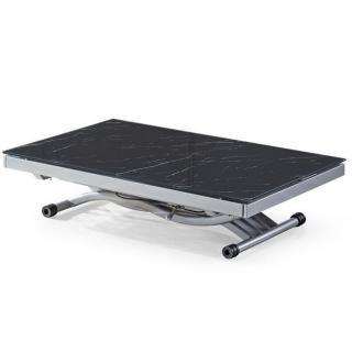 Table basse NEWFORM relevable extensible, plateau en verre trempé, marbré noir