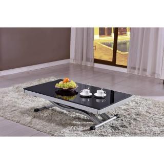 Table basse NEWFORM relevable extensible, plateau en verre noir